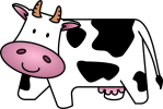 drawn of a white and black cow.